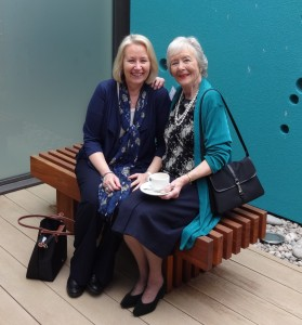 Our founder Paulline Williams with Debra Morgan of The AA in the seating area of the summer garden