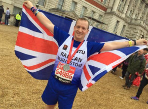 Stuart Morgan from Tadley after running the London Marathon for RadCan. Stuart has raised almost £12,000 in memory of his father Henry Morgan